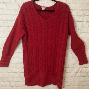 Red Cable knit tunic sweater